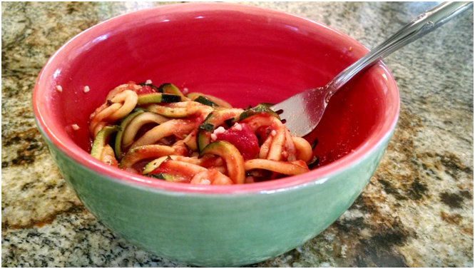 Easy Spiralized Zucchini Pasta made with a 4 Blade Paderno Spiralizer from William Sonoma